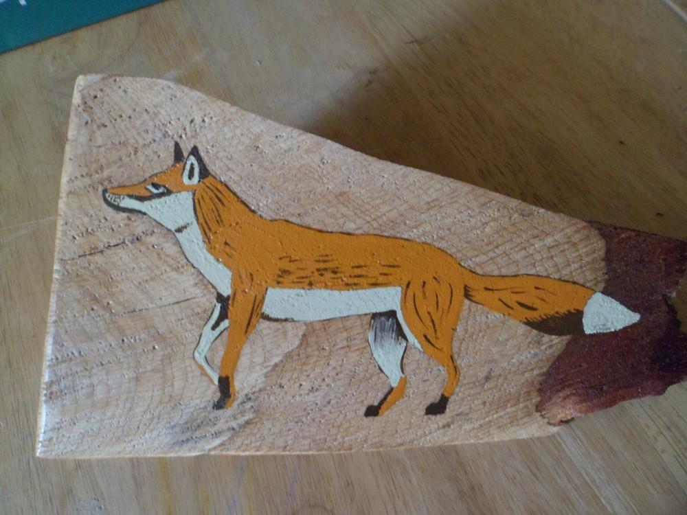 renard peinture sur bois